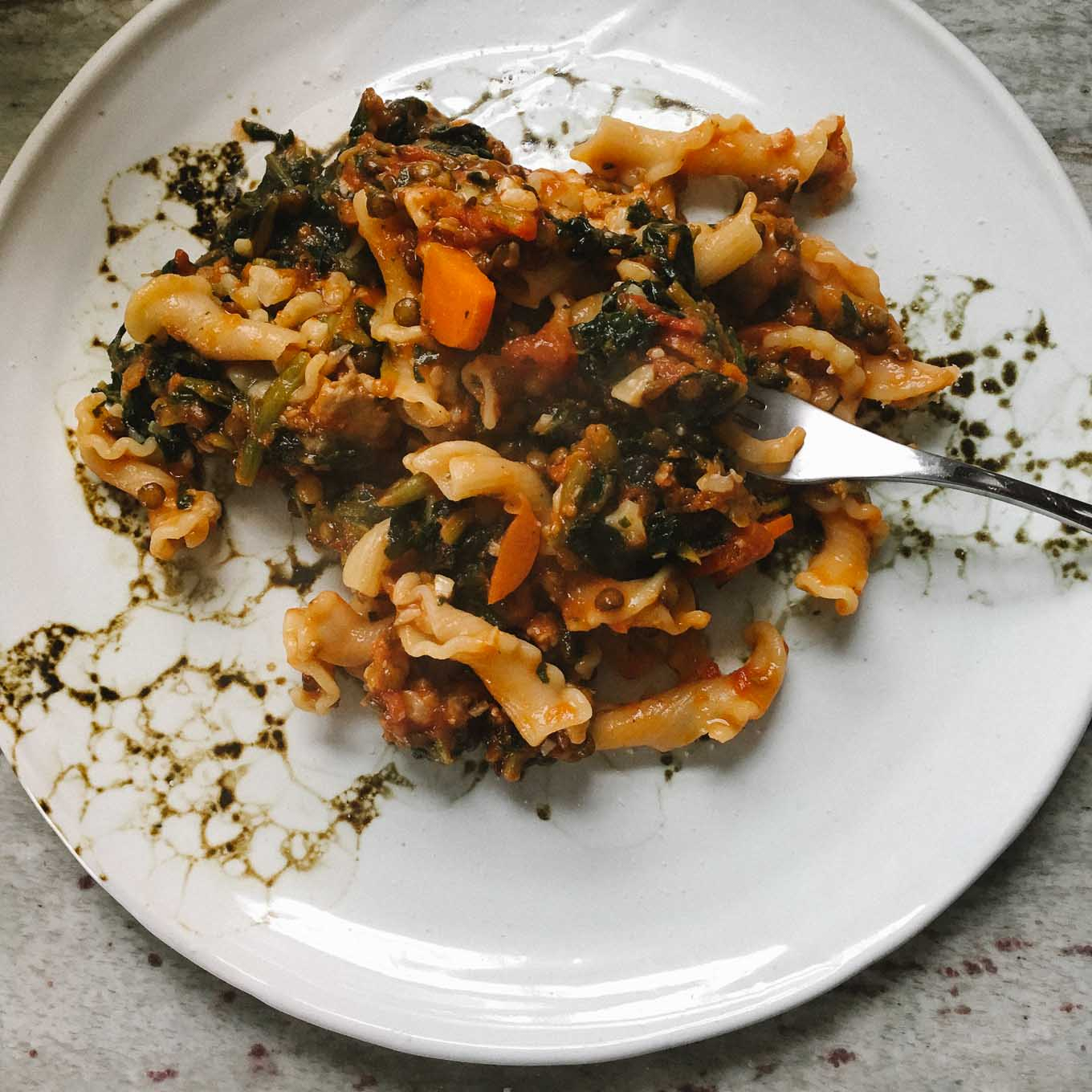 Papparadelle Bolognese with Lentils and Sausage | the Tastiest Book